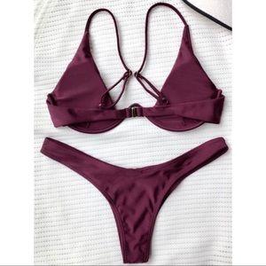 Zaful Swim - Burgundy Sexy Bikini